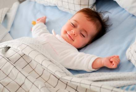 happy child in bed