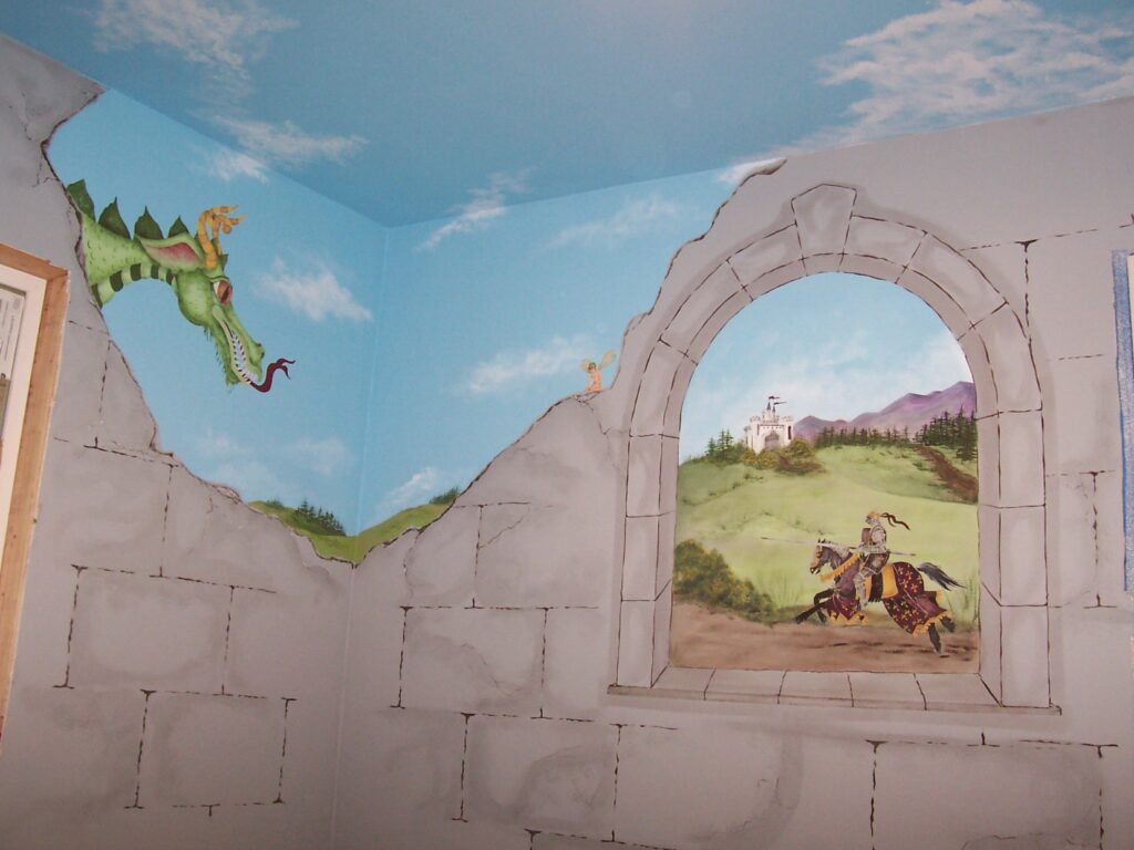 childrens-murals-castle-big-friendly-green-dragon-looking-over-a-broken-castle-wall-with-window-scene-of-knight-riding-to-defend-his-castle