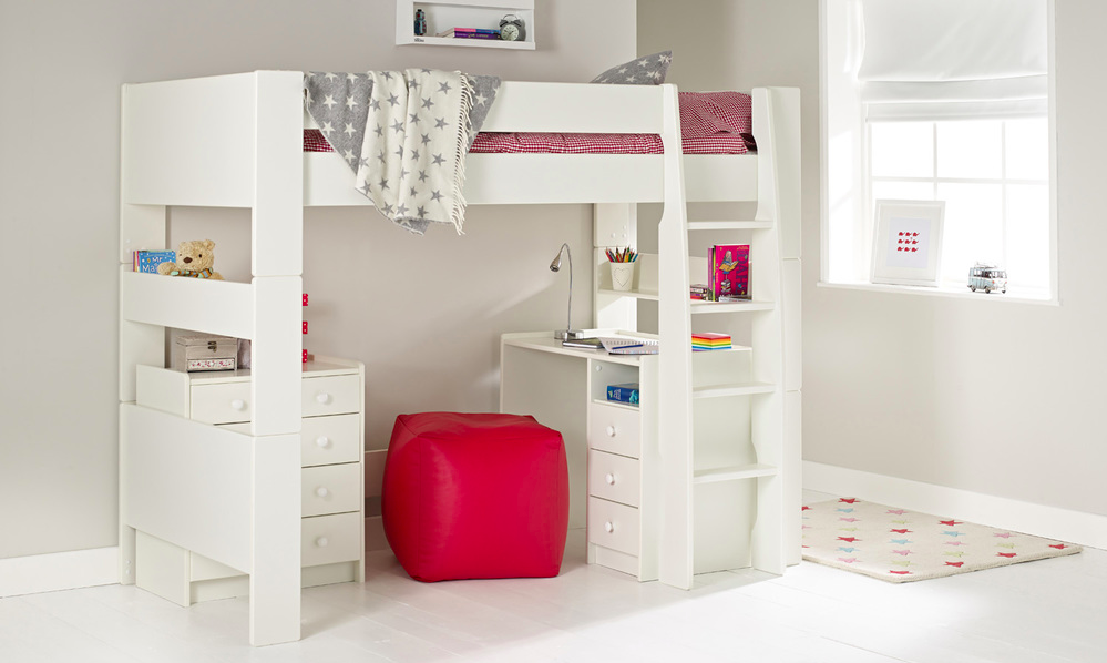 A high sleeper with a desk and chest