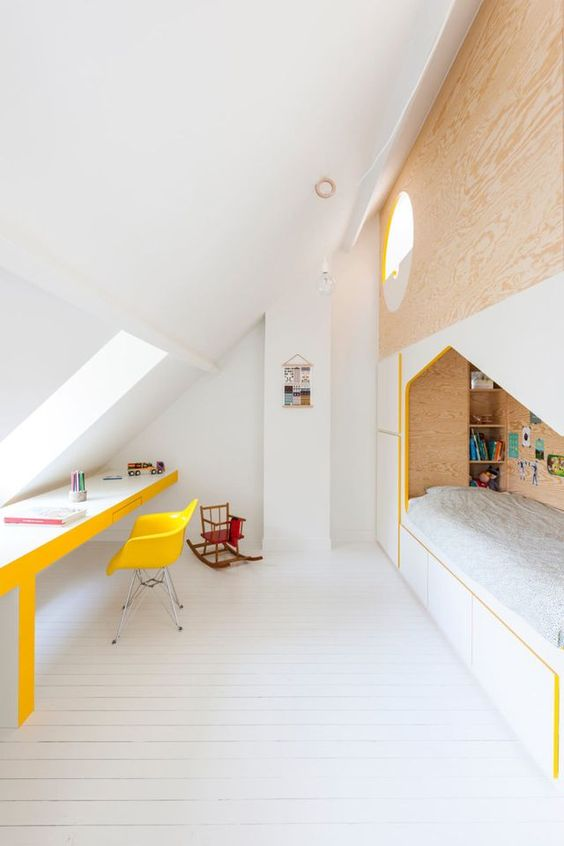 A cosy room with a slanted roof