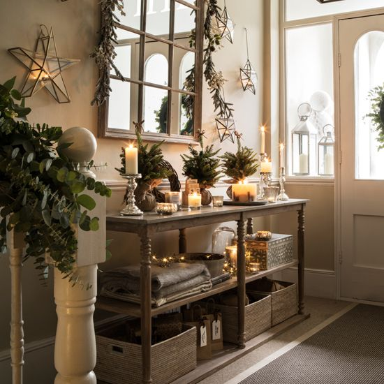 A hallway in a home with Christmas decorations