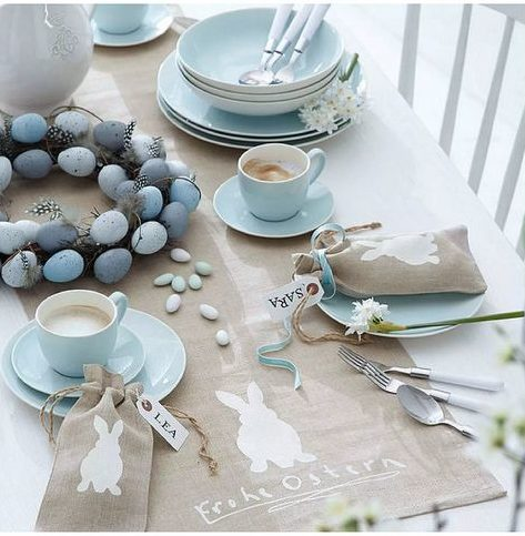 Table decorated with Eggs and Bunnies