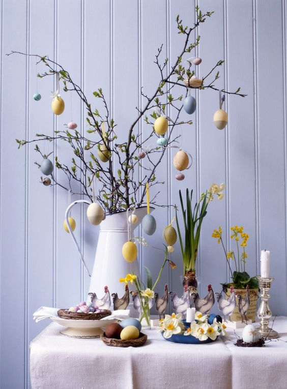 A small table decorated for Easter
