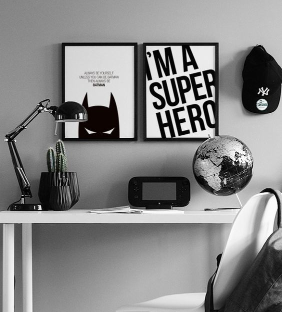 Dark Black and White Batman themed furniture