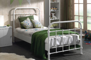 City Metal Single Bed in white
