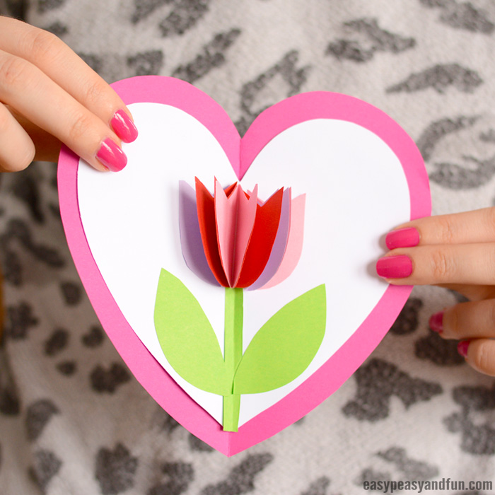 tulip in heart card valentines day