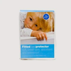 Packaging for a fitted bed protector from Room to Grow.