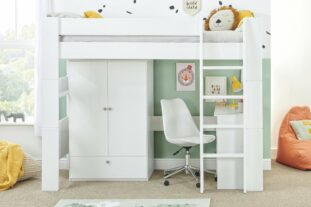 Bloc high sleeper with robe and desk